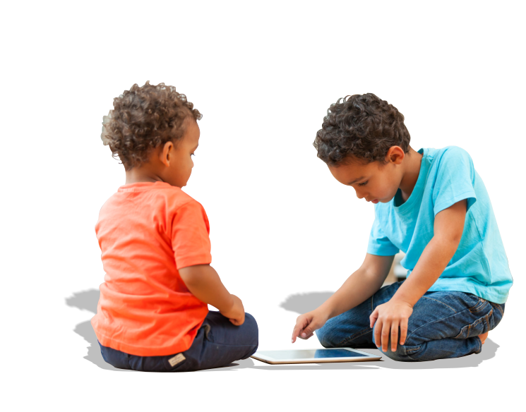 Two boys playing tablet
